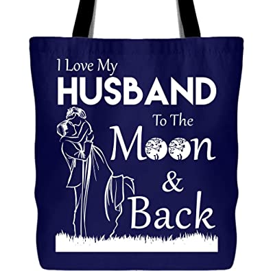 3b8a1f37b31e Amazon.com: Gift For Husband Canvas Tote Bags, I Love My Husband To ...