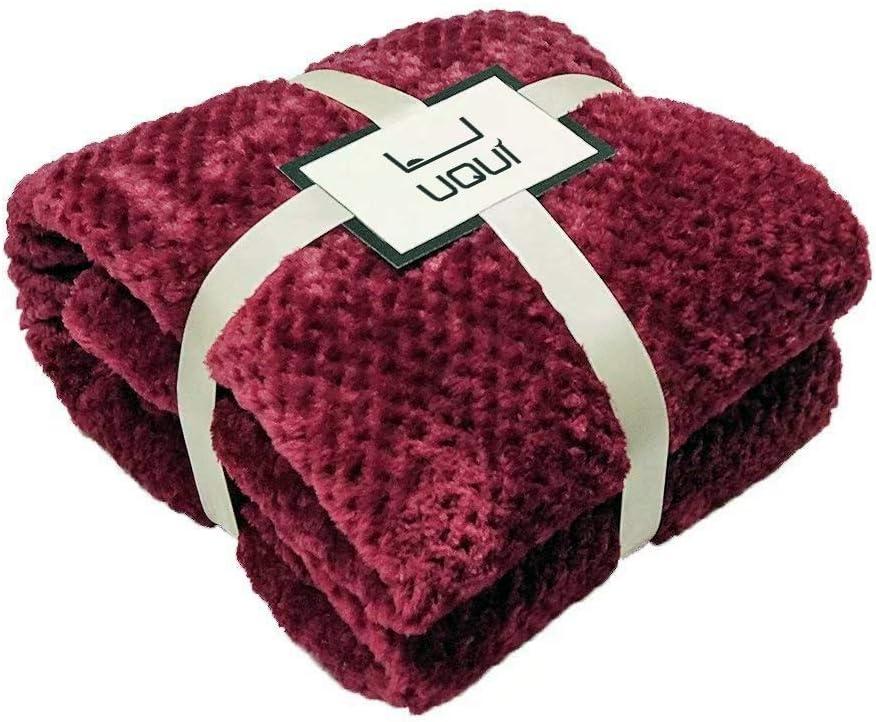 "U UQUI Waffle Flannel Fleece Velvet Plush Throw Blanket – 70"" x 78"" (Burgundy)"