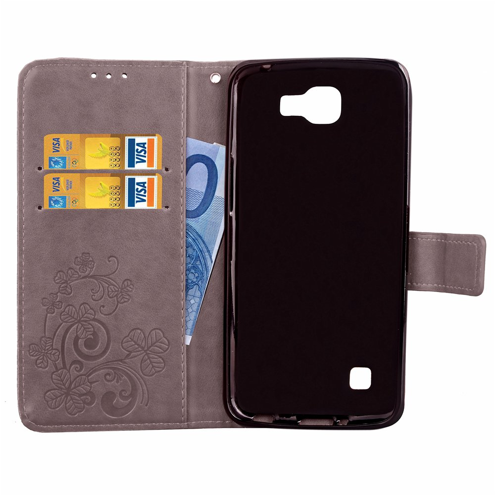 Kickstand Feature Supporto per Slot per Schede Custodia Protettiva per LG K4 2016 Grey Custodia LG K4 2016 Scheam Libro Flip Cover Custodia a Portafoglio Premium Custodia in PU Pelle
