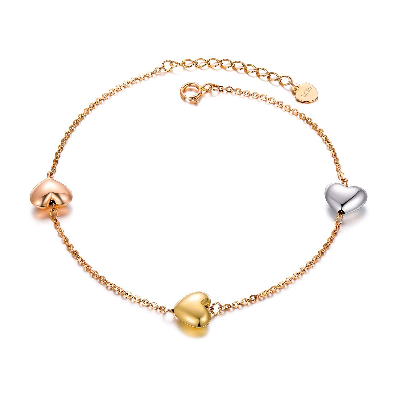 c0430dff75a84 Amazon.com: SISGEM 18k Gold Heart Bracelet, Tri Color Gold Bracelets ...