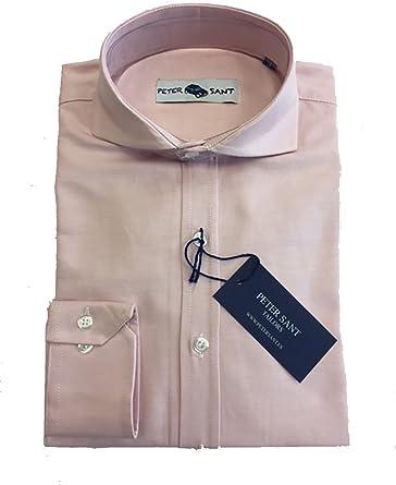 Camisa Lisa Oxford Manga Larga Cuello Italiano 100% Algodón (Rosa, S): Amazon.es: Ropa y accesorios