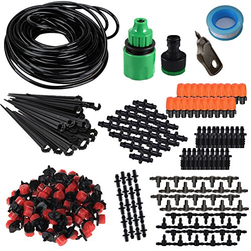 Drip Water (KORAM IR-D 50 Feet Blank Distribution Tubing Hose Plant Watering Irrigation Drip Kit Accessories Include Atomizing Nozzle Mister Dripper, 1/4-Inch)