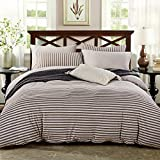 PURE ERA Duvet Cover Set Cotton Jersey Knit Super Soft Comfy Breathable Striped Luxury Bedding Sets Reversible - Brown Grey Queen
