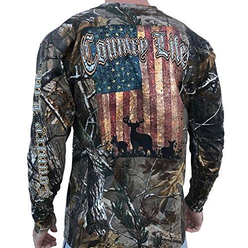 Country Life Deer American Flag Realtree Camo Long Sleeve Shirt (Medium)