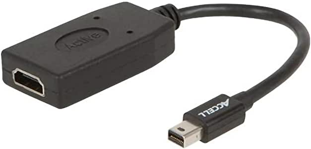Accell mDP to HDMI Adapter - Mini DisplayPort 1.2 to HDMI 1.4 Active Adapter - 4K UHD @30Hz, 1920X1080@120Hz, 2560X1600@60Hz