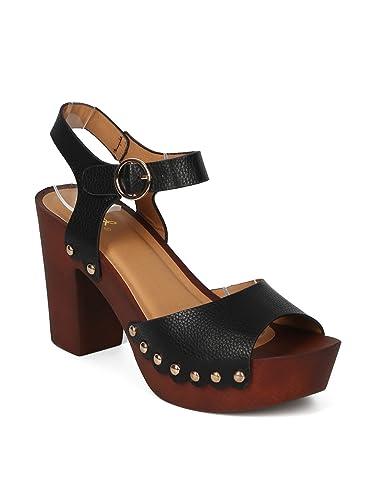 b19405a779a Women Leatherette Open Toe Studded Platform Block Heel Sandal - HK99 Qupid  Line - Black Leatherette