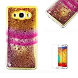 For Samsung Galaxy J5 2016 Case, Funyye Luxury 3D Creative Liquid Shiny Quicksand Flowing Bling Glitte Stars [Glitter Rainbow] Design Flexible Soft TPU Bumper Shockproof Protection Cover for Samsung Galaxy J5 2016 - Yellow Pink