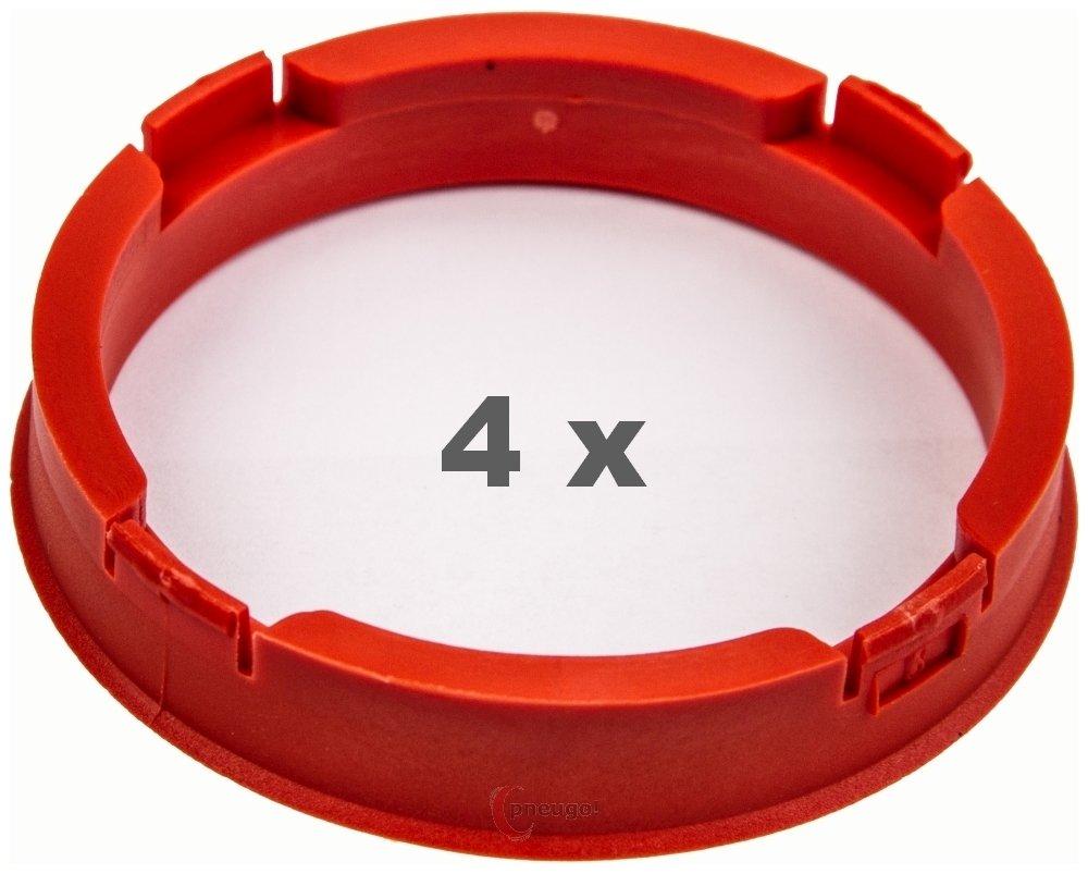 4 x Zentrierringe 73.1mm auf 63.4 mm rot//red