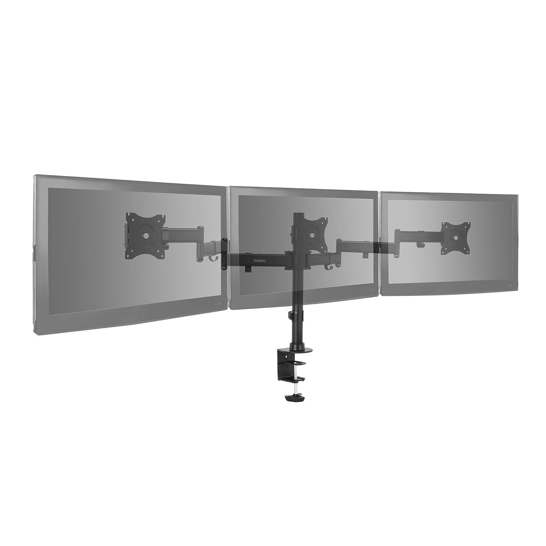 "Single Arm Desk Stand Bracket with Clamp VESA Dimensions: 75x75-100x100 360/° Rotation /& 360/° Swivel Arm Ergonomic 180/° Tilt VonHaus Monitor Mount for 13-32/"" Screens"