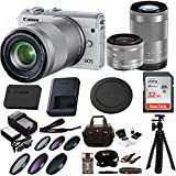 Canon EOS M100 Mirrorless Camera w/ 15-45mm & 55-200mm Lenses & 32GB SD Bundle (White)