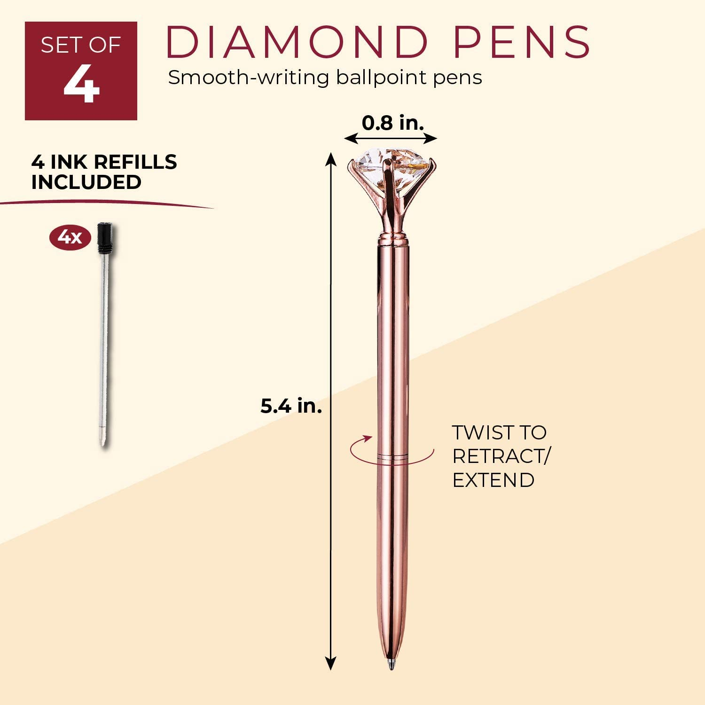 "5.5/"" 4-Pack Elegant Rose Gold Metal Pens w// Diamond Crystal Tops and 4 Refills"