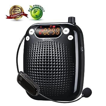 Amplificador de voz, SHIDU Amplificador de voz inalámbrico Sistema de PA portátil recargable con micrófono para auriculares para maestros,guías turísticos ...
