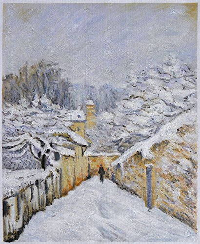 Snow at Louveciennes - Alfred Sisley high quality hand-painted oil painting reproduction, countryside in winter scene, iridescent with bluish reflections - Alfred Sisley Painting