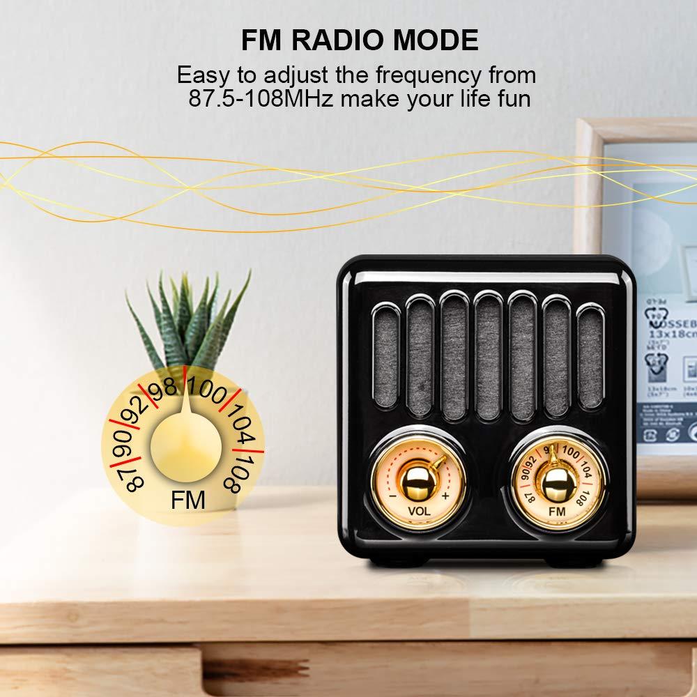Qoosea Portable Radio FM Radio Stereo Bluetooth 4.2 Mini Speaker with Super Bass Subwoofer White