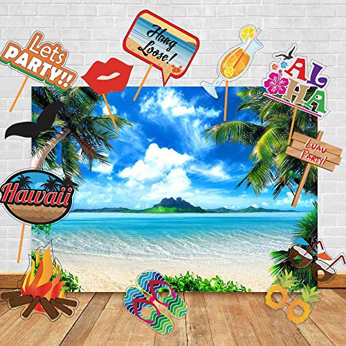 Art Studio Hawaii Sea Beach Photography Backdrops Luau Party and Studio Props DIY Kit.Summer Ocean Photo Booth Wedding Party Decoration Background Birthday Studio Props Vinyl]()