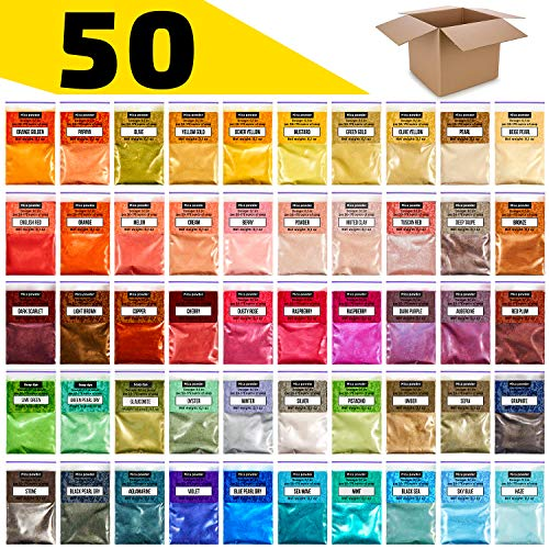 Halloween Soap Making (Mica Powder Set - Soap Coloring Kit - Powdered Pigments Set - Mica Colors for Soap Making dye - 50 Colors - Mica Powder for Epoxy - Resin Powder Pigment)