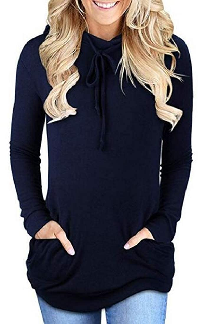 BU2H Women Sweatshirt Solid Pockets Pullover Hoodie Hooded Sweatshirt