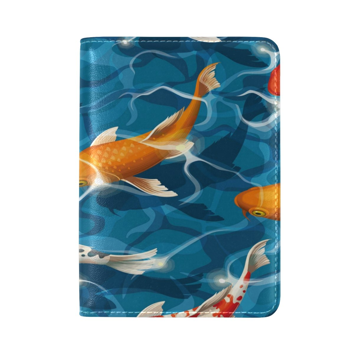 ALAZA Cute Koi Carps PU Leather Passport Holder Cover Case Travel One Pocket