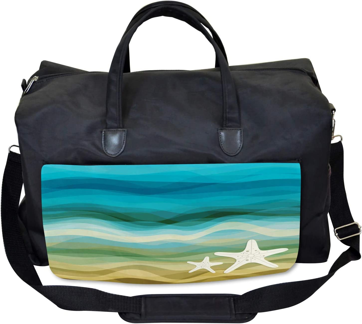 Large Weekender Carry-on Modern Waves Starfish Ambesonne Abstract Gym Bag