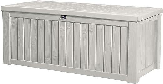 Keter cremallera para contenedor caja de almacenamiento de plástico cubierta al aire libre Patio muebles de jardín 150 L, color blanco: Amazon.es: Jardín