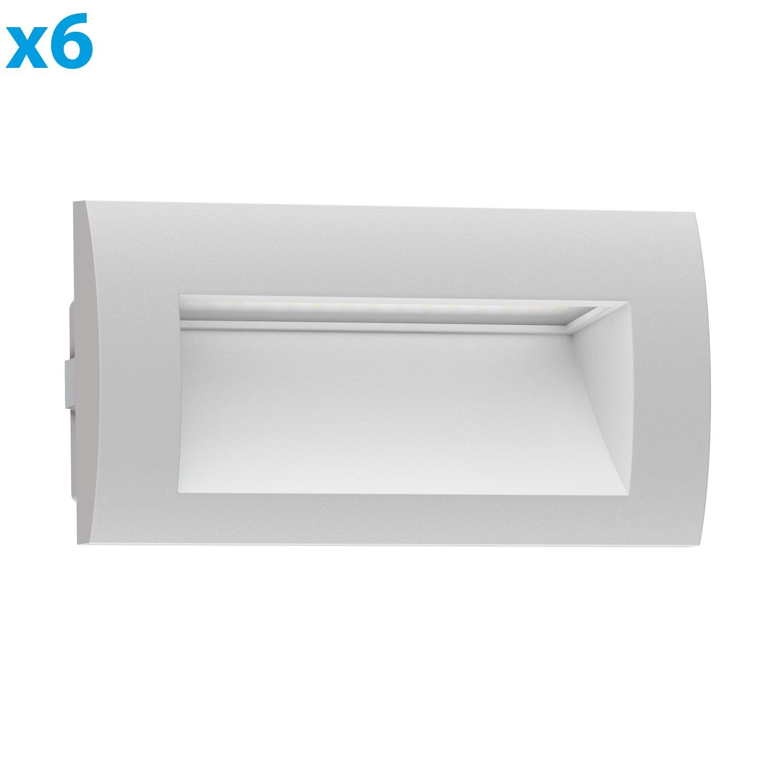 grau 90x90mm ledscom.de LED Downunder Zibal kalt-weiß wetterfest 6 Stk.