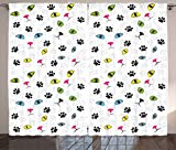 Ambesonne Animal Curtains, Rainbow Colored Feline Pet Paw Eyes and Face Persian Siamese Street Cats Art Print, Living Room Bedroom Window Drapes 2 Panel Set, 108W X 63L Inches, Multicolor