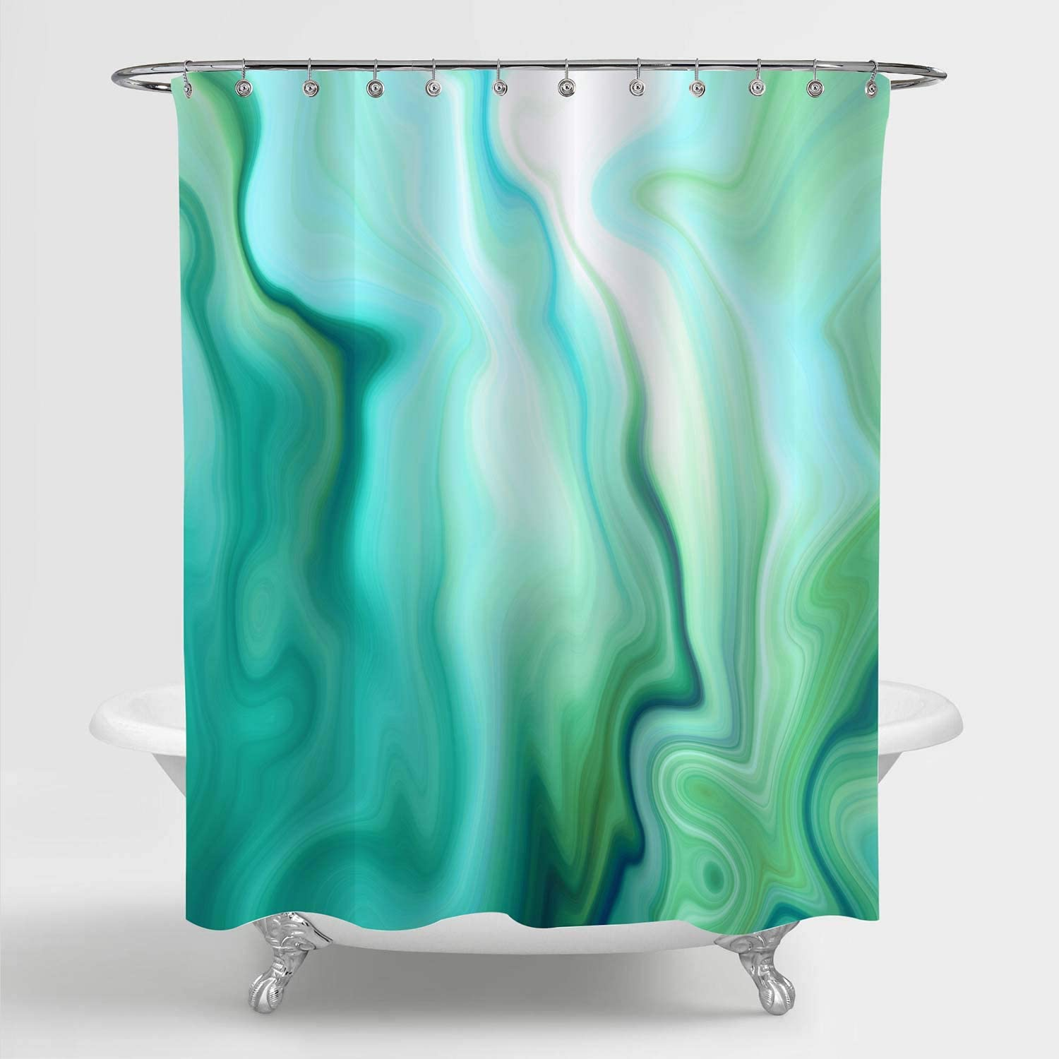 MitoVilla Seafoam Green Ombre Marble Shower Curtain, Turquoise Mint Lime Green Striped Wave Bathroom Art Print for Green Home Decor, Waterproof Washable Fabric Bathroom Curtain, 72