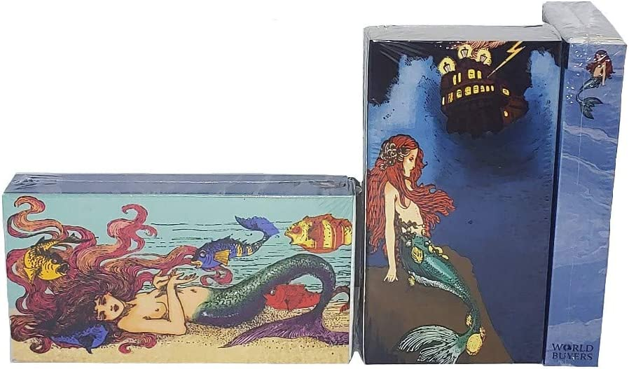 Long Wooden Matches,Strike Strip on Side of Box- Colored Match Tips- Candle and Fireplace Wooden Matches 4.375 x 2.35 x .75 Decorative Matches, Mermaid Siren Set of 3 Match Boxes