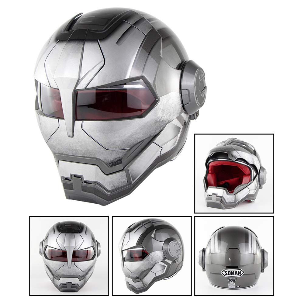 MTCTK Motorrad Iron Man Full Face Helm Transformers flip up Helmet D.O.T Certified Vintage Moto Integrated Helmet