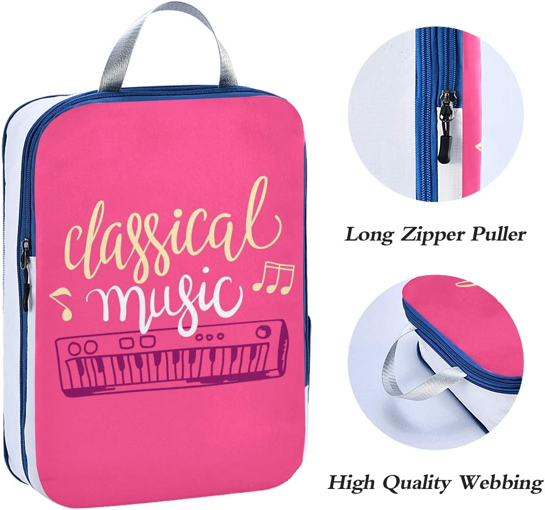 ATONO Colorful Music Piano Roses Travel Packing Cubes Luggage Organizer Bags Storage 3 Pack Sets Toiletries Shoe Bag for Business Trip Holiday Kids/&Adults