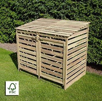 Mulltonnenbox Aus Holz Oskar Fur 2 Tonnen