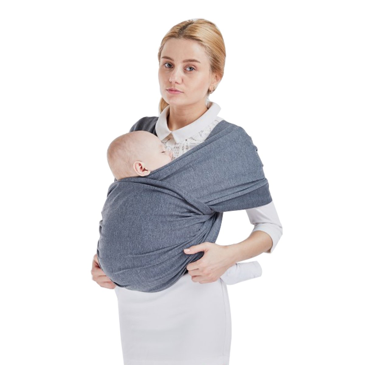Baby Wrap Carrier, Baby Sling up to 40 lbs, Organic Cotton Liberty Slings Wrap Sleepy for Toddler(Dark gray) ASANDH