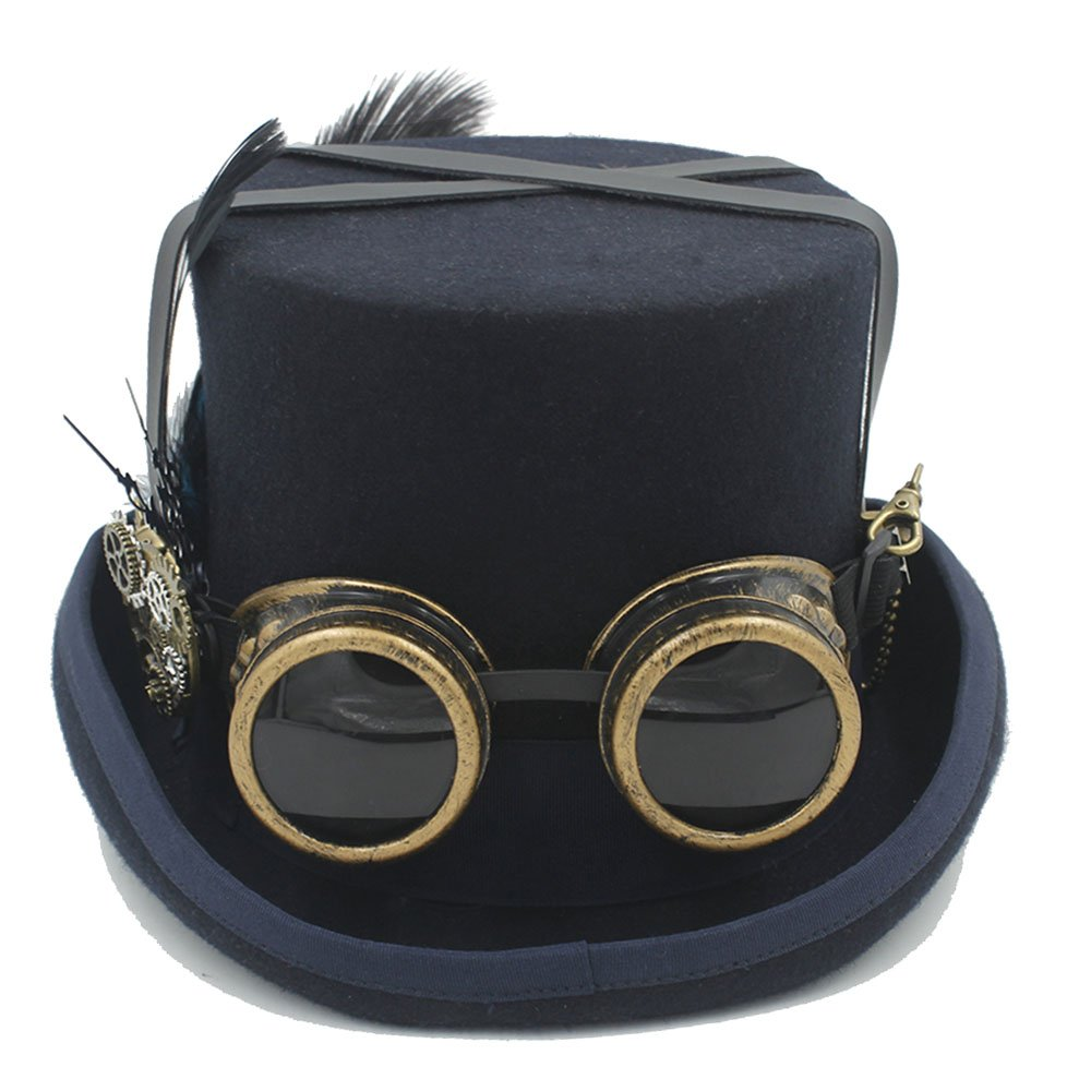 CNBEAU Wool DIY Fedora Steampunk Top Hat for Women Men Hat Millinery Steampunk Goggles