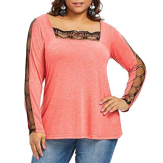 690c1d181631c Hanican Women Plus Size Tops Lace Splice Blouse Square Neck Solid Color T  Shirt (Orange