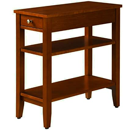 Narrow End Table For Small Places With Drawer And 2 Shelves Wooden Cherry Brown Small Classic