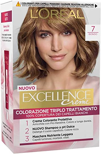 LOreal - Tinte Excellence Creme para coloración del cabello, rubio n.º 7, 3 unidades