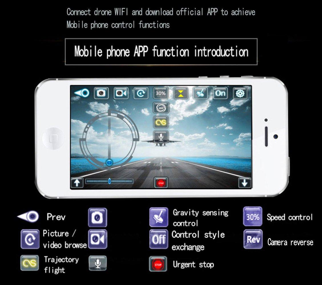 KYOKIM Fernbedienung und Handy-App-Steuerung Drohne Synchron-Übertragung Luftaufnahmen, 16    16  4cm Flugzeit  8 Minuten und Fernbedienung Entfernung  100 Meter,schwarz 400548
