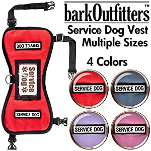 """barkOufitters Service Dog Vest Harness - Available in 2 Colors and 5 Sizes (Red, XS (21"""" - 26"""" Girth)"""