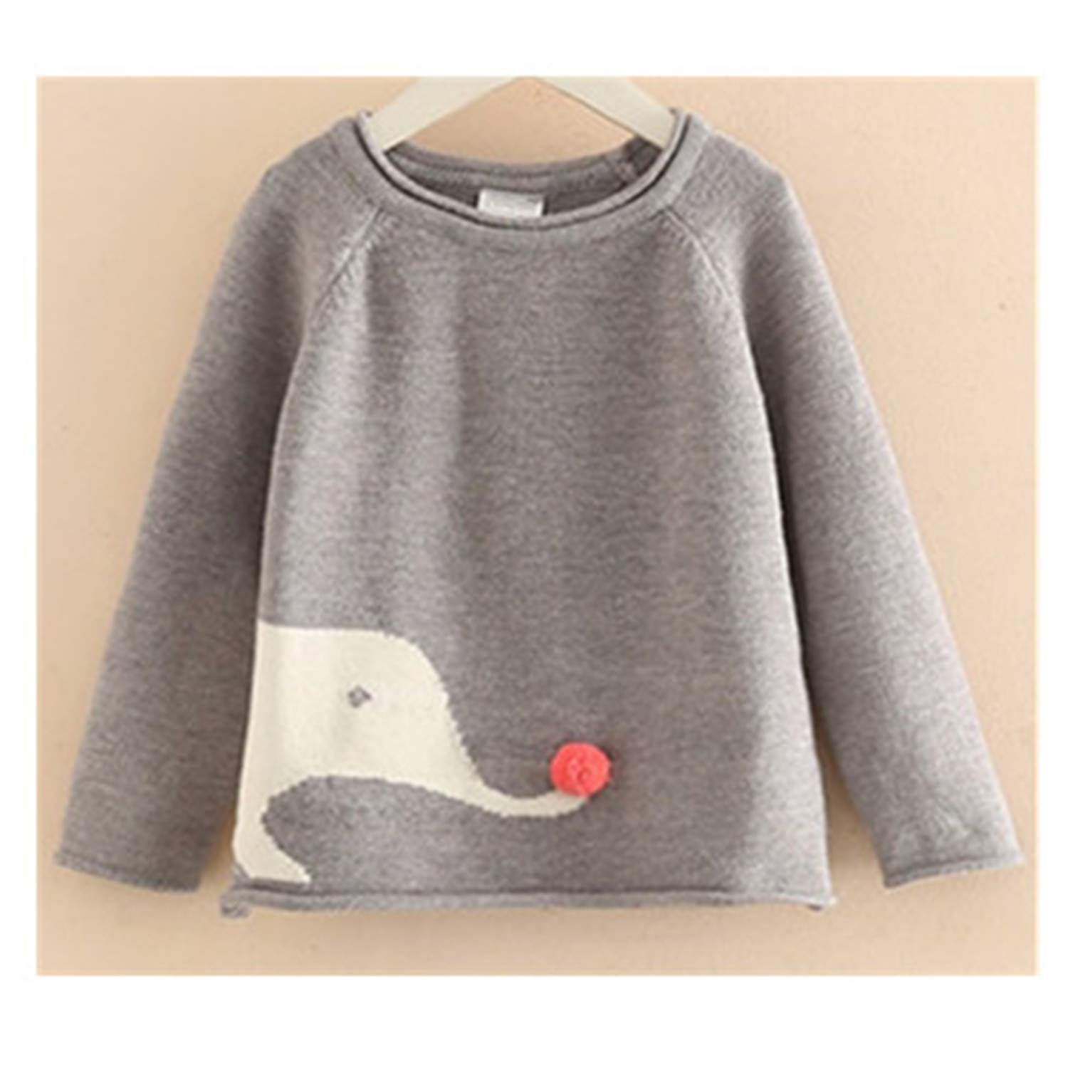 Gail Jonson Autumn Long Sleeve Kids Clothes Cotton Cartoon Elephant Pattern Knitted Pullover Girls Sweaters Gray 3T