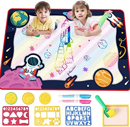 SHAPE MART Water Drawing Mat Large Water Magic Doodle Mat for Toddler Mess Free Painting Aqua Mat for Kids with Magic Pens and Bag Educational Toys for Kids Age 3 4 5 6 Years Old