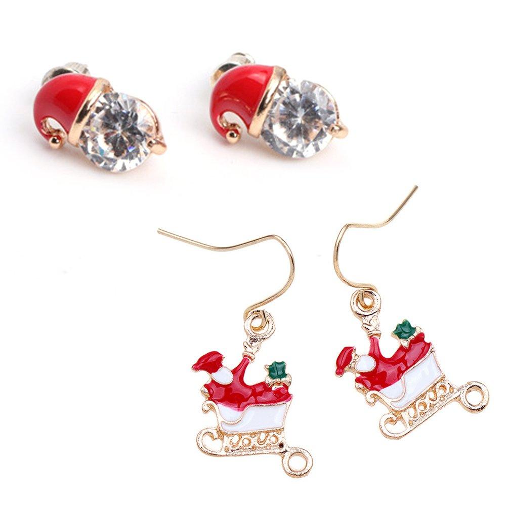 Yokirin Etui spé cial cadeaux de Noë l Sapin de Noë l Pè re Noë l Renne Perle Ornement Bracelet en alliage avec 1 paire de boucles d'oreilles Bonhomme de neige Style-1 ZH208F-H-A-M4029-UK