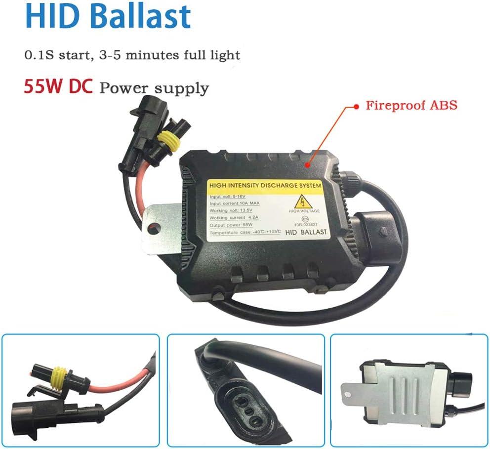 Boomboost HID Xenon-Brenner kit H4 Xenon-Licht Ballasts Entladungslampe Schlank HID Lampen Scheinwerfer Nachr/üstsatz Set Schnellstart Ersatzlampen 12V 55W 10000K
