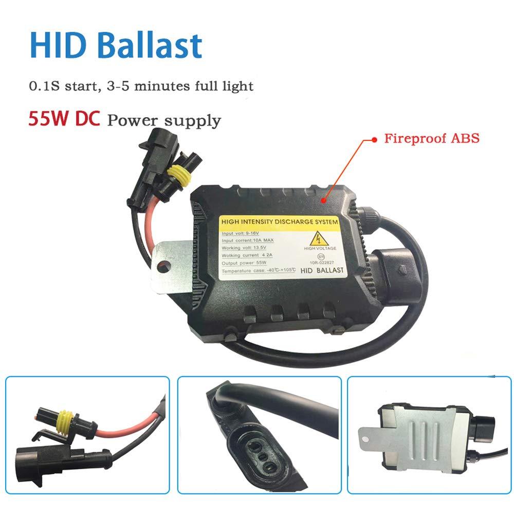 Boomboost 55W Kit de luz HID Xen/ón 6000K H4 HID Xenon Bombilla L/ámpara Kit de Conversi/ón Lastre 12V