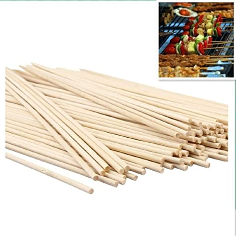 Home REPUBLIC-100pcs / 4 INCH Natural Healthy Bamboo Skewers Grill BBQ Kebab Disposable Barbecue Sticks