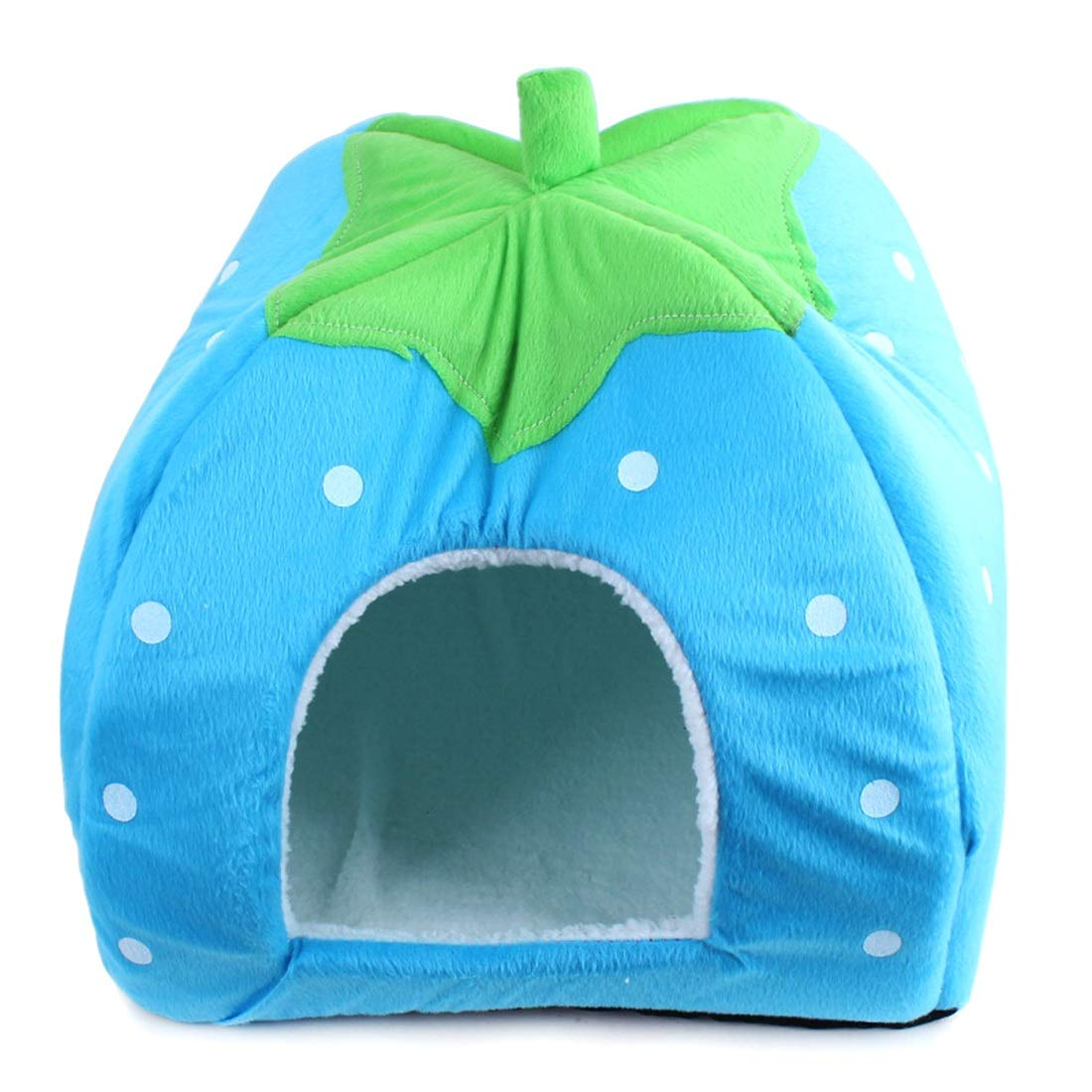 bluee Soft and Comfortable Foldable Pet Bed Strawberry Animal cave nest Cute pet cat Dog House 4 colors to Choose from (color   bluee)