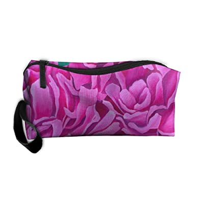 well-wreapped Jewelry Bags For Womens Cosmetics Case With Zipper Pink Peony Travel