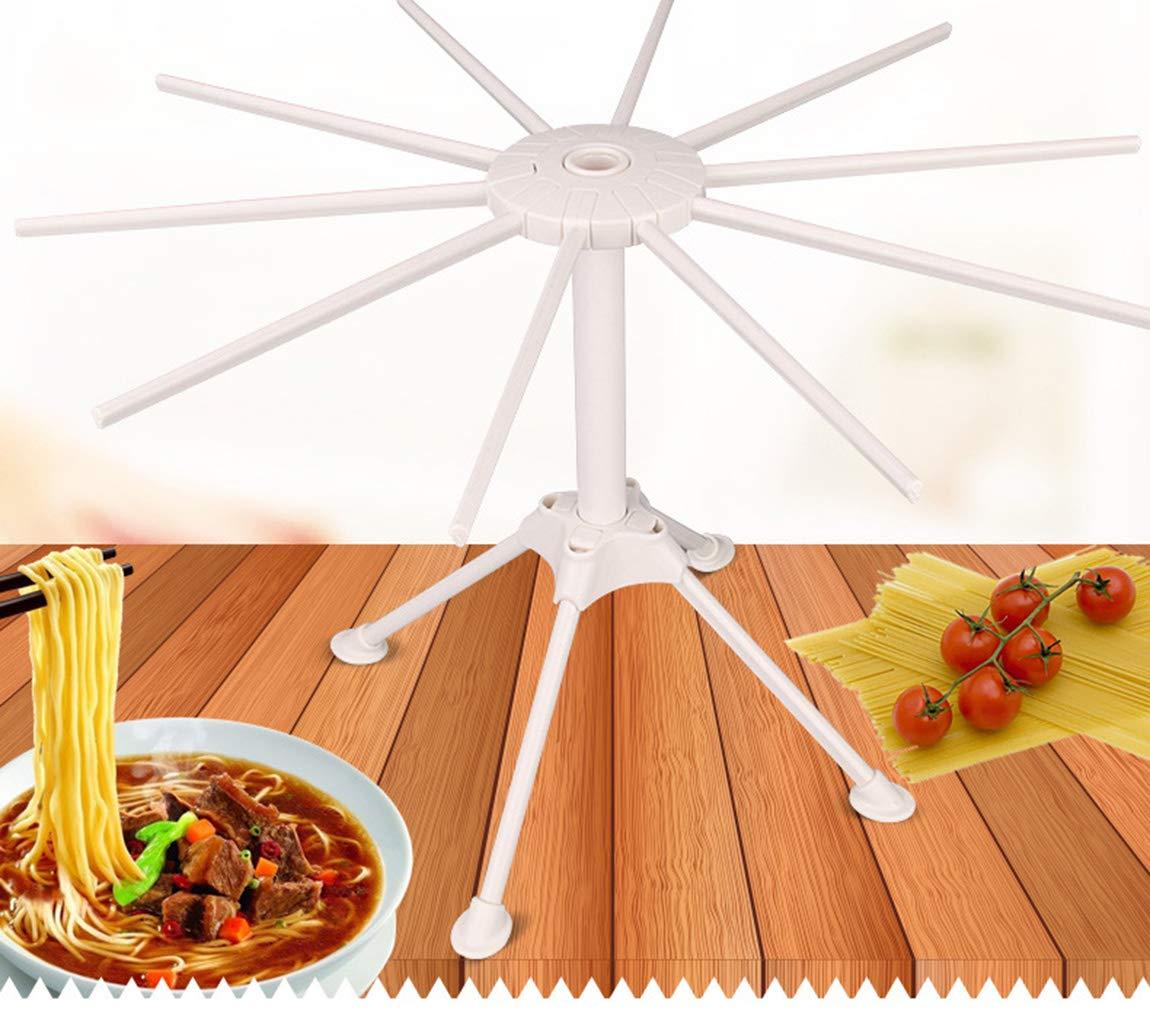 MDCEO Stendipasta Pieghevole per Pasta Fresca,Stendino per Pasta Lunga essiccatore asciugapasta in ABS Staccabile con 10 Bracci di 42cm