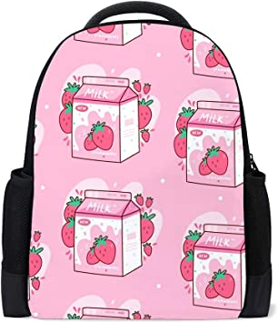Strawberry Print Laptop Backpack High School Bookbag Casual Travel Daypack