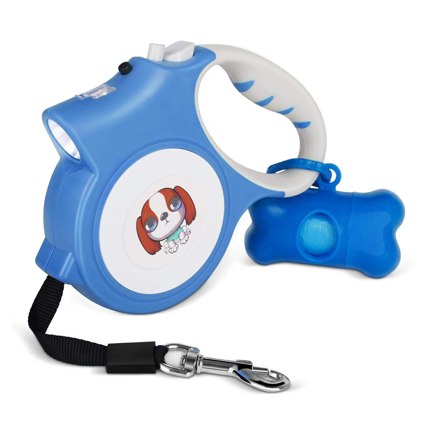 MOWIS Small Retractable Dog Leash with Anti-Slip Handle, 16.4ft Dog Walking Leash for Small Medium Dogs up to 55lbs, 360°Tangle Free, LED Light & Dog Waste Dispenser Bags Included