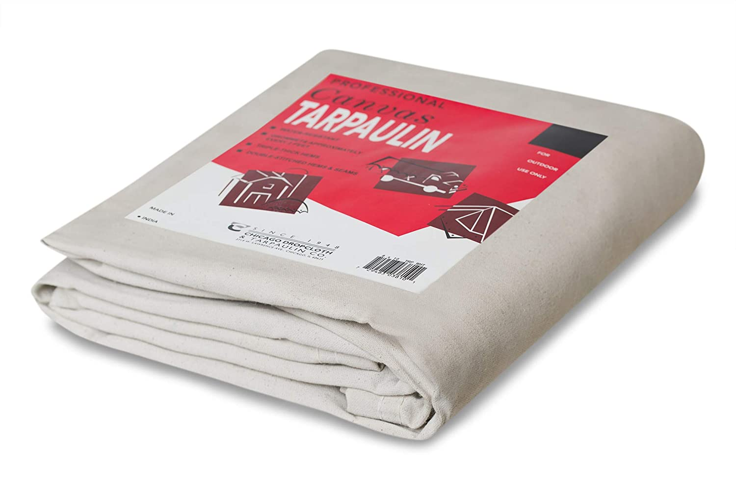 10 by 12 Feet CCS CHICAGO CANVAS /& SUPPLY Canvas Tarpaulin White